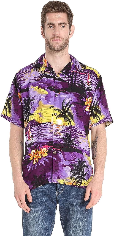Couple Matching Hawaiian Luau Aloha Shirt Maxi Tank Dress in SunBlue