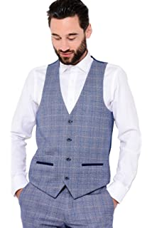 e439d4d7e85 Marc Darcy Mens Designer Blue Windowpane Check Print Tweed Single Breasted  Waistcoat Wedding