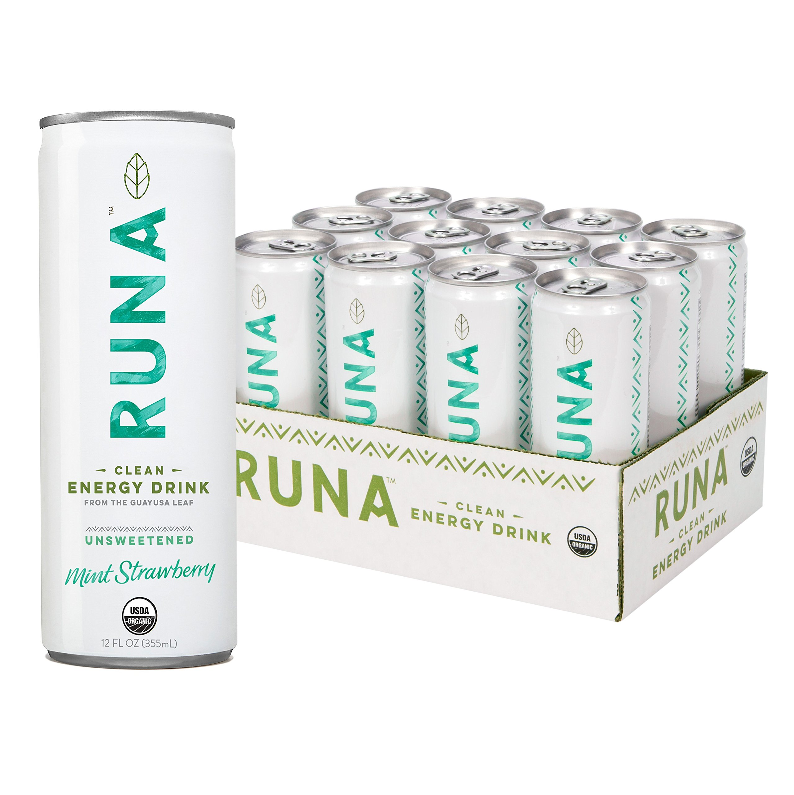 RUNA Organic Clean Energy Drink from the Guayusa Leaf, Unsweetened Mint Strawberry, 12 Ounce (Pack of 12)