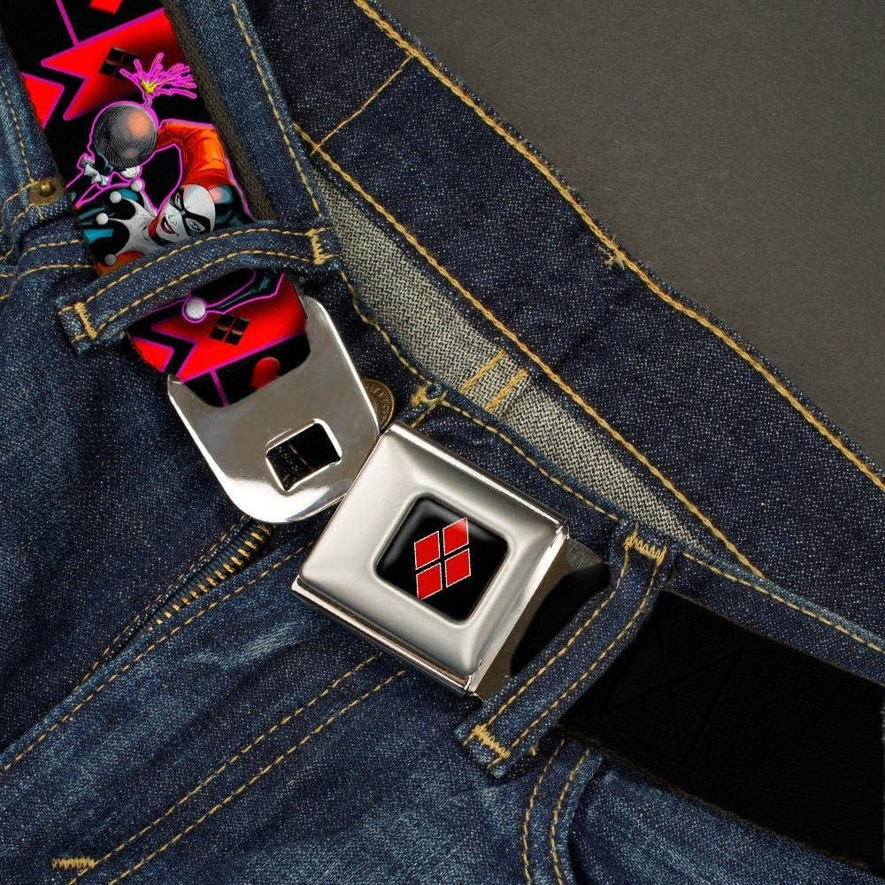 HARLEY QUINN Bomb Poses//Suits Black//Purple//Red 32-52 Inches in Length Buckle-Down Seatbelt Belt 1.5 Wide