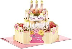 Hallmark Paper Wonder Birthday Pop Up Card for Women (Pink and Gold Birthday Cake), 799RZW1030