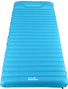 Camp Solutions Ultralight Sleeping Pad - 3.5'' Thick Lightweight Air Mattress with Built in Pillow for Camping, Hiking and Backpacking, 72.8 x 23.6 x 3.5 inches (C0044BU)
