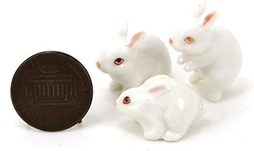 Easter Bunnies Set of 3 DOLLHOUSE 1:12 Miniature GREY and WHITE Resin Rabbits