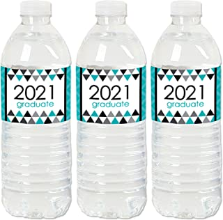 product image for Big Dot of Happiness Teal Grad - Best is Yet to Come - 2021 Turquoise Graduation Party Water Bottle Sticker Labels - Set of 20