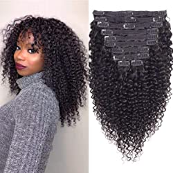 WENYU Kinky Curly Clip in Hair Extensions