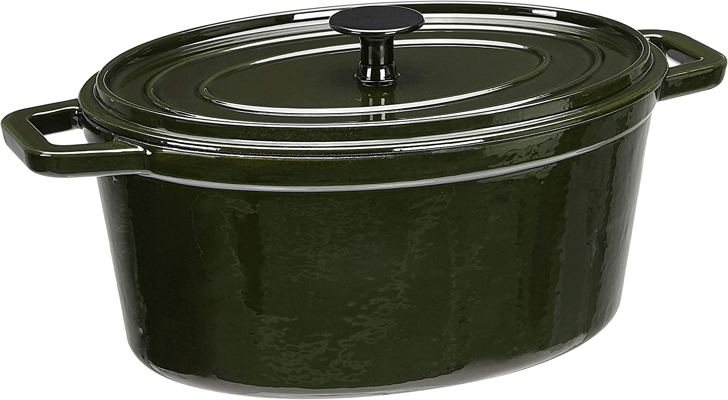 AmazonBasics Z4715MG Premium Enameled Cast Iron Oval Dutch Oven, 6-Quart, Deep Hunter Green