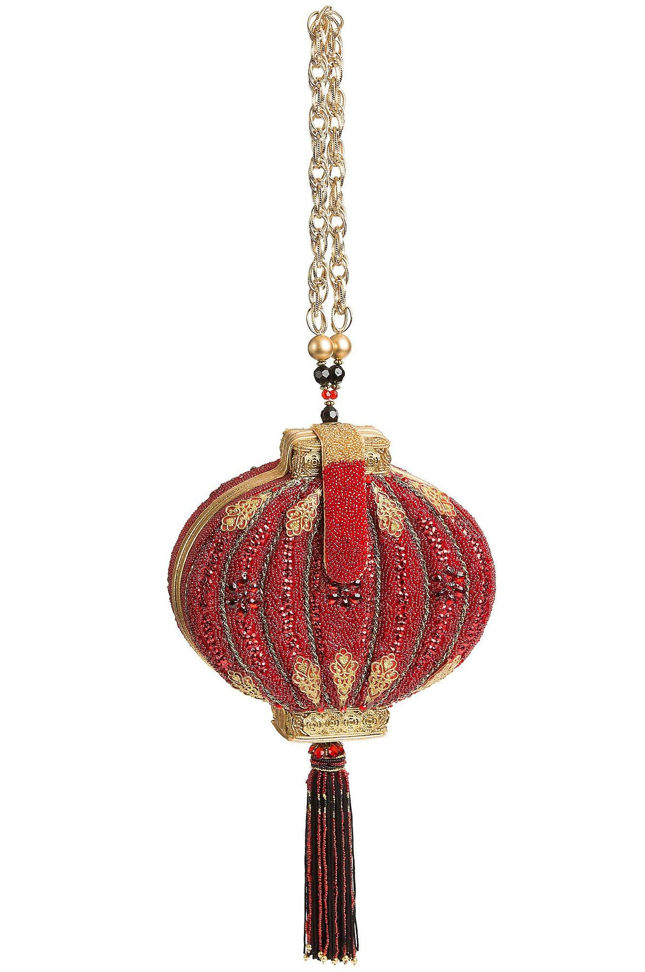 Mary Frances Enlightened Handbag Lantern Red Gold Bag New