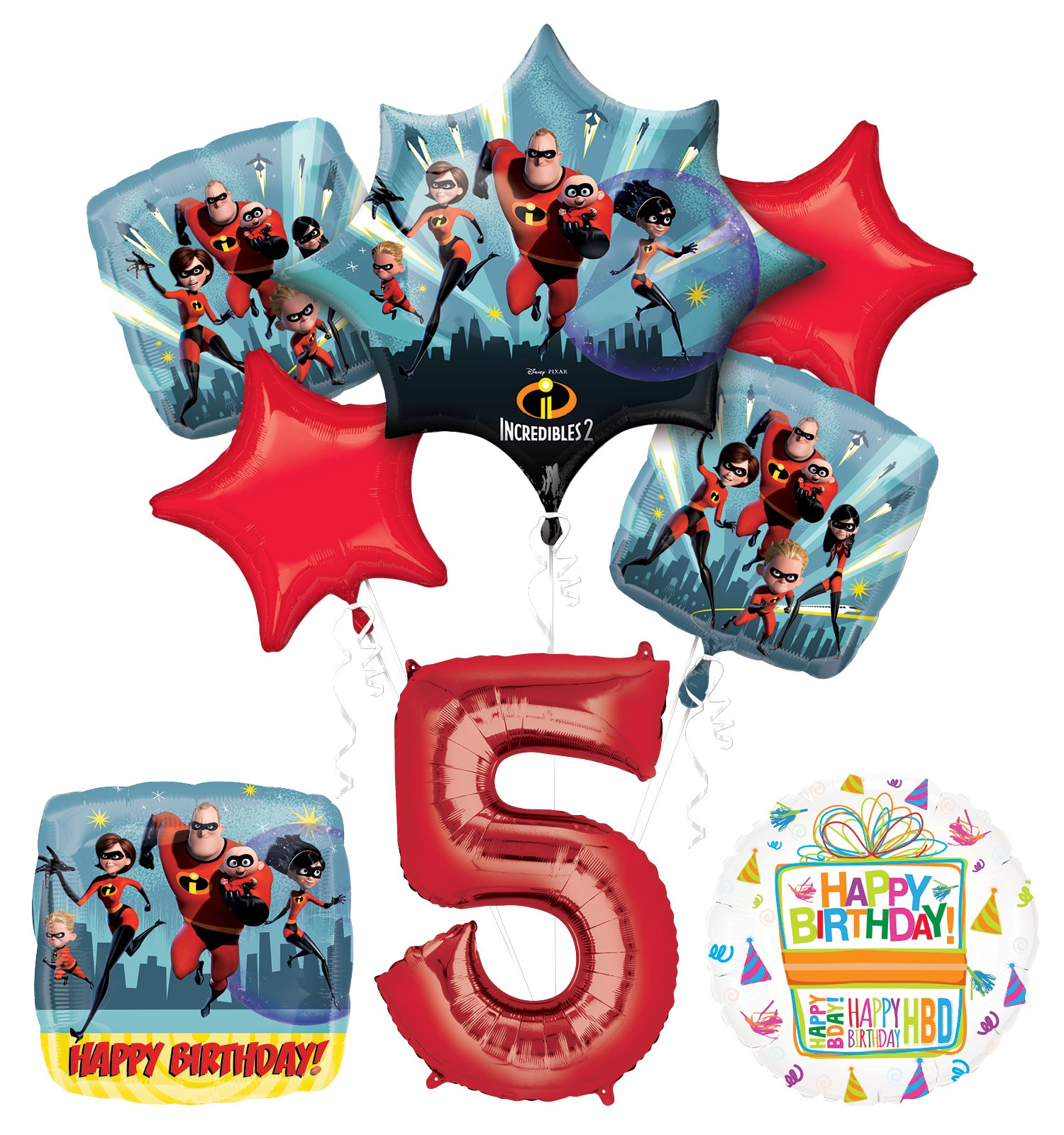 Incredibles 2 party supplies 5th Birthday Balloon Bouquet Decorations