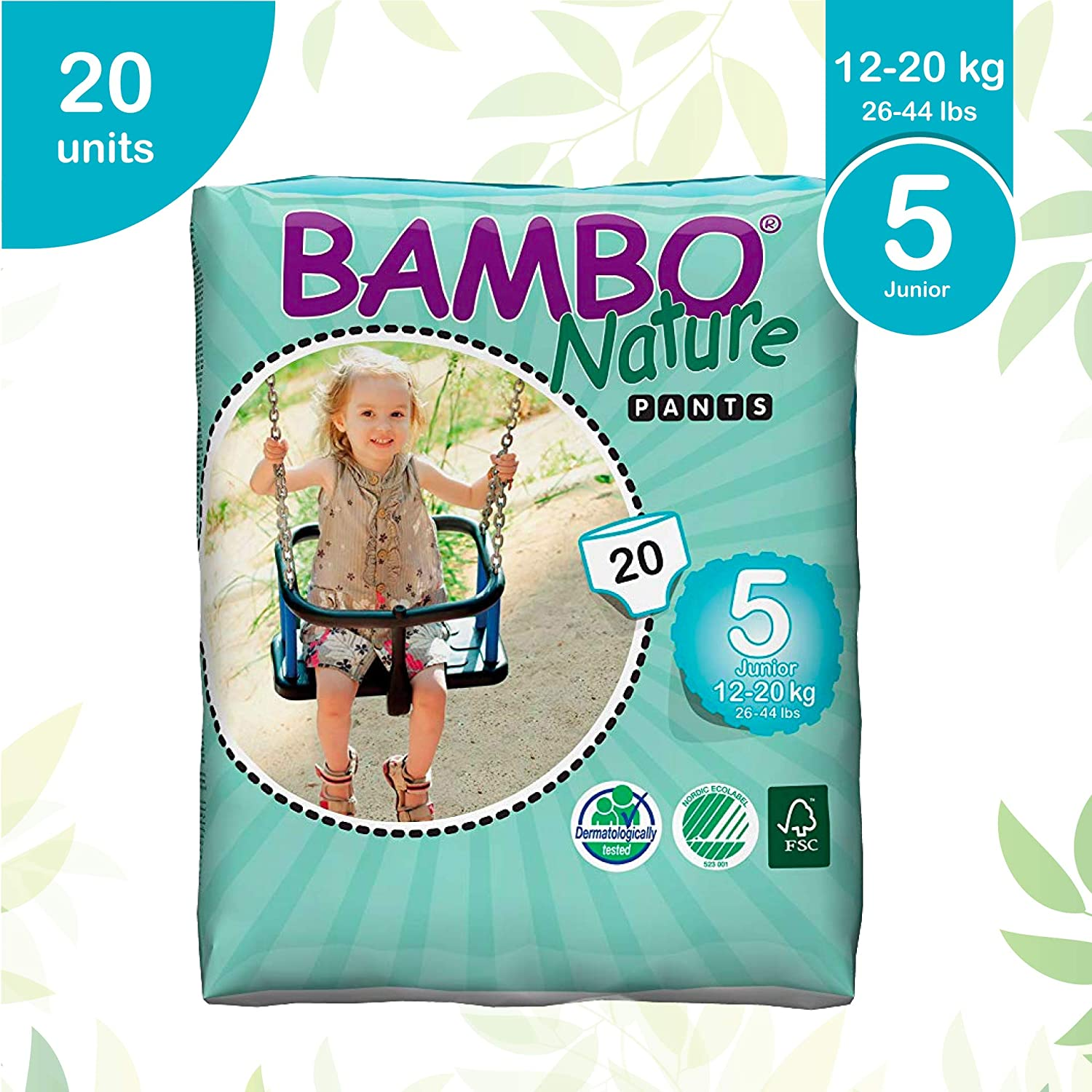 Junior Size 5 Pack of 22 Bambo Nature Premium Eco Nappies 27-40lb//12-18kg