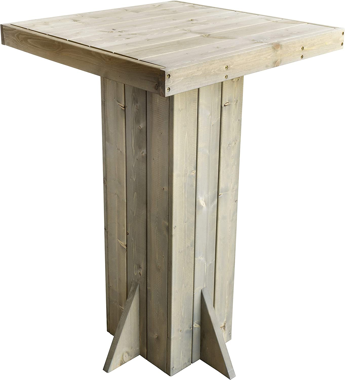Trendyshop356 - Mesa alta de madera de pino maciza, 110 cm, pretratada, FSC, color gris, cuadrada, para jardín o bar, para 4 personas