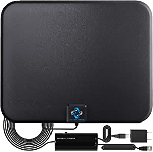 [2018 Latest] Amplified HD Digital TV Antenna Long 65-80 Miles Range – Support 4K 1080p & All Older TV's Indoor Powerful HDTV Amplifier Signal Booster - 18ft Coax Cable/USB Power Adapter