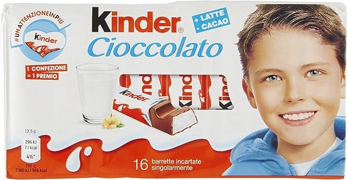 Kinder Tableta Chocolate con leche Caja 200 [Pack de 5]: Amazon.es ...