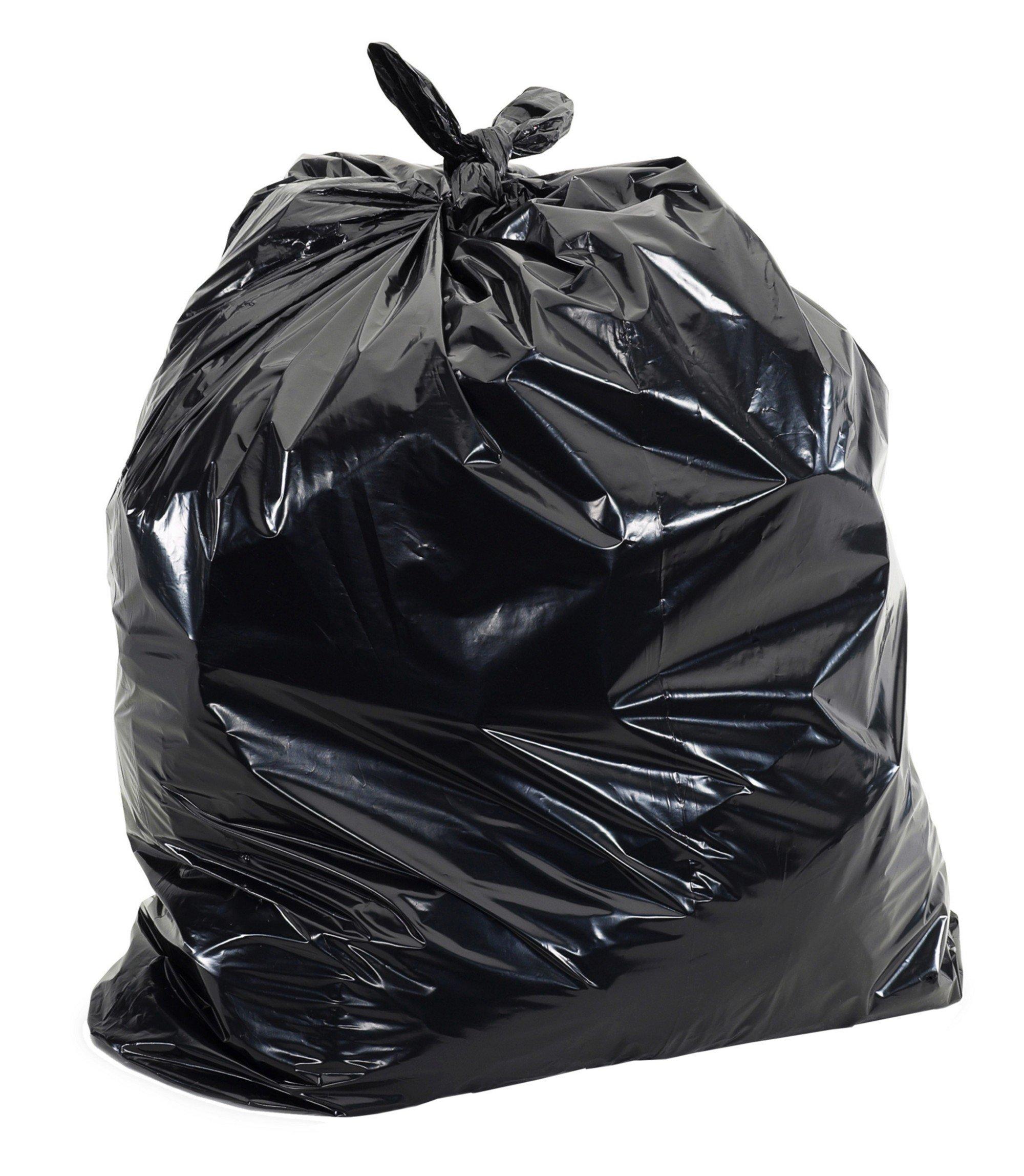 Aluf Plastics RCT-56X Star Sealed Coreless Rolls with E-Z Tie Flap Closure, 56 gal, Polyethylene, 43'' x 46'', Black (Pack of 100)