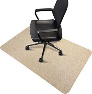 "SALLOUS Chair Mat, Hard-Floor Mat for Office Home, 0.16"" Thick Floor Protector Mat for Desk Chairs, Low-Pile Office Chair Mat for Hardwood Floor (Beige, 55""x35"")"
