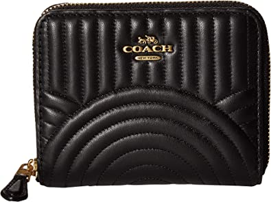 d665f7fc5256 Amazon.com  COACH Women s Deco Quilting Small Zip Around Wallet B4 Black  One Size  Shoes