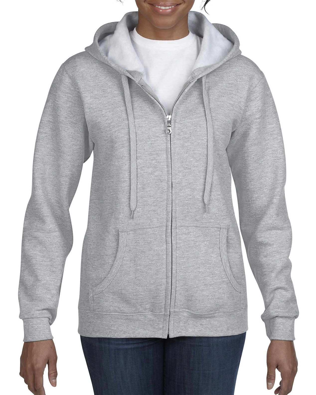 Gildan Women's Full Zip Hooded Sweatshirt, Sport Grey, Medium