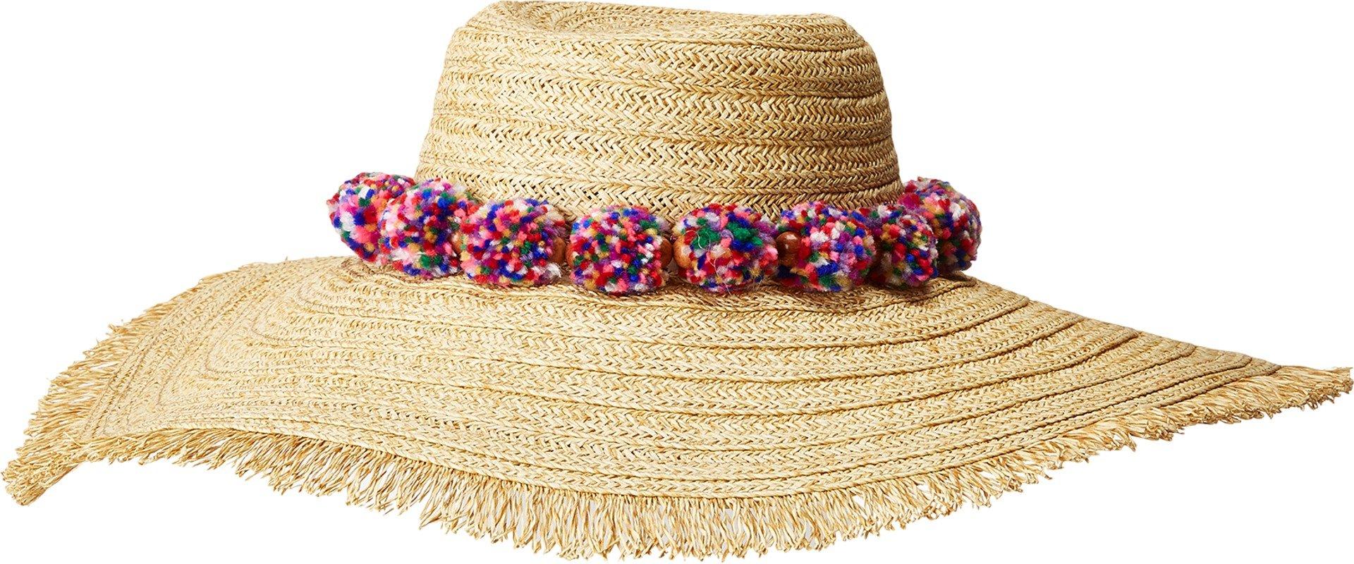 San Diego Hat Company Women's UBLX126 Ultrabraid Sun Brim w/Multicolor Pom Natural One Size