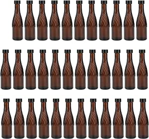 Amber Wine Bottles, COMUDOT 120ml Cute Glass Bottles with Spiral Pattern for Home Brewing, Beers, Drinks, etc, Case of 35
