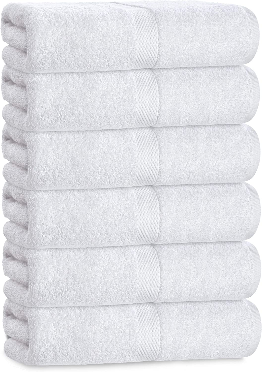 Luxury White Hand Towels - Soft Circlet Egyptian Cotton | Highly Absorbent Hotel spa Bathroom Towel Collection | 16x30 Inch | Set of 6: Kitchen & Dining
