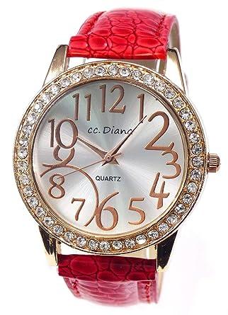 9c744aa308 Amazon | 大人可愛いレディース腕時計 ラウンドフェイス クロコ型押し レッド 赤色 ベルトウォッチ 白 tvs305-no-va1 | メンズ 腕時計 | 腕時計 通販