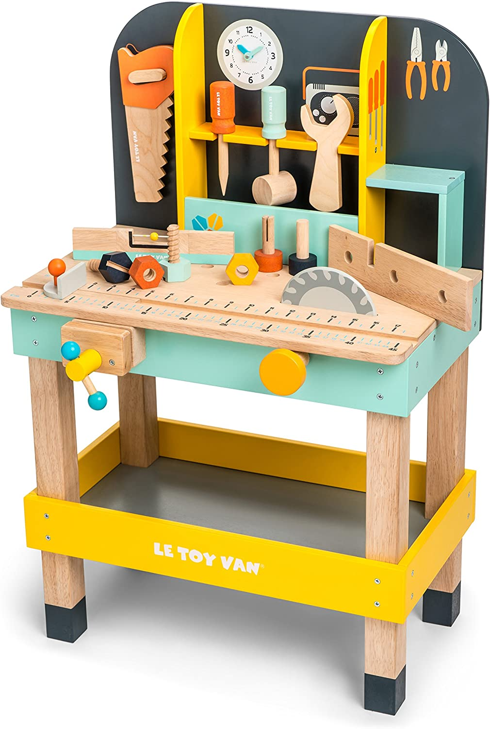 Le Toy Van Cars & Construction Collection Alex's Work Bench Premium Wooden Toys for Kids Ages 3 Years & Up