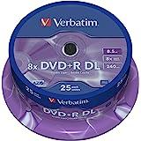 Verbatim 43757 DVD+R Double Layer 8x Matt Silver, 8.5GB, 240min., Vergini, Confezione da 25