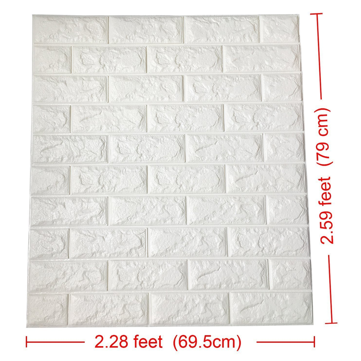 (5PCS, White)3D Brick Wall Stickers Self-adhesive Panel Decal PE Wallpaper