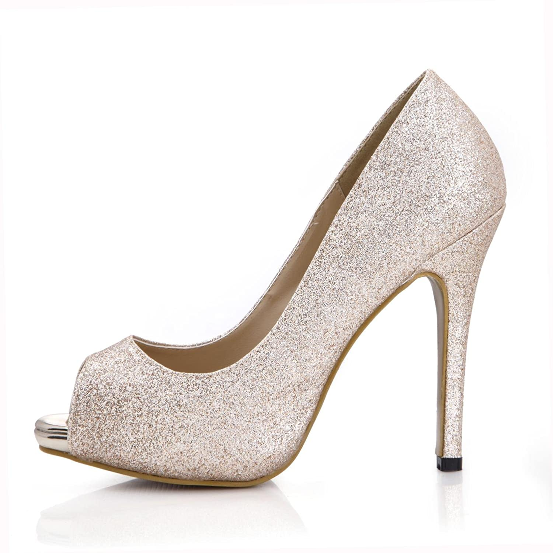 Best 4U® 4U® 4U® Frauen Sommer Sandalen Glitter Grundlegende Pumpen 11 CM High Heels 1 CM Plattform Peep Toe Gummisohle Schuhe Casual Style Einfarbig e1a3c4