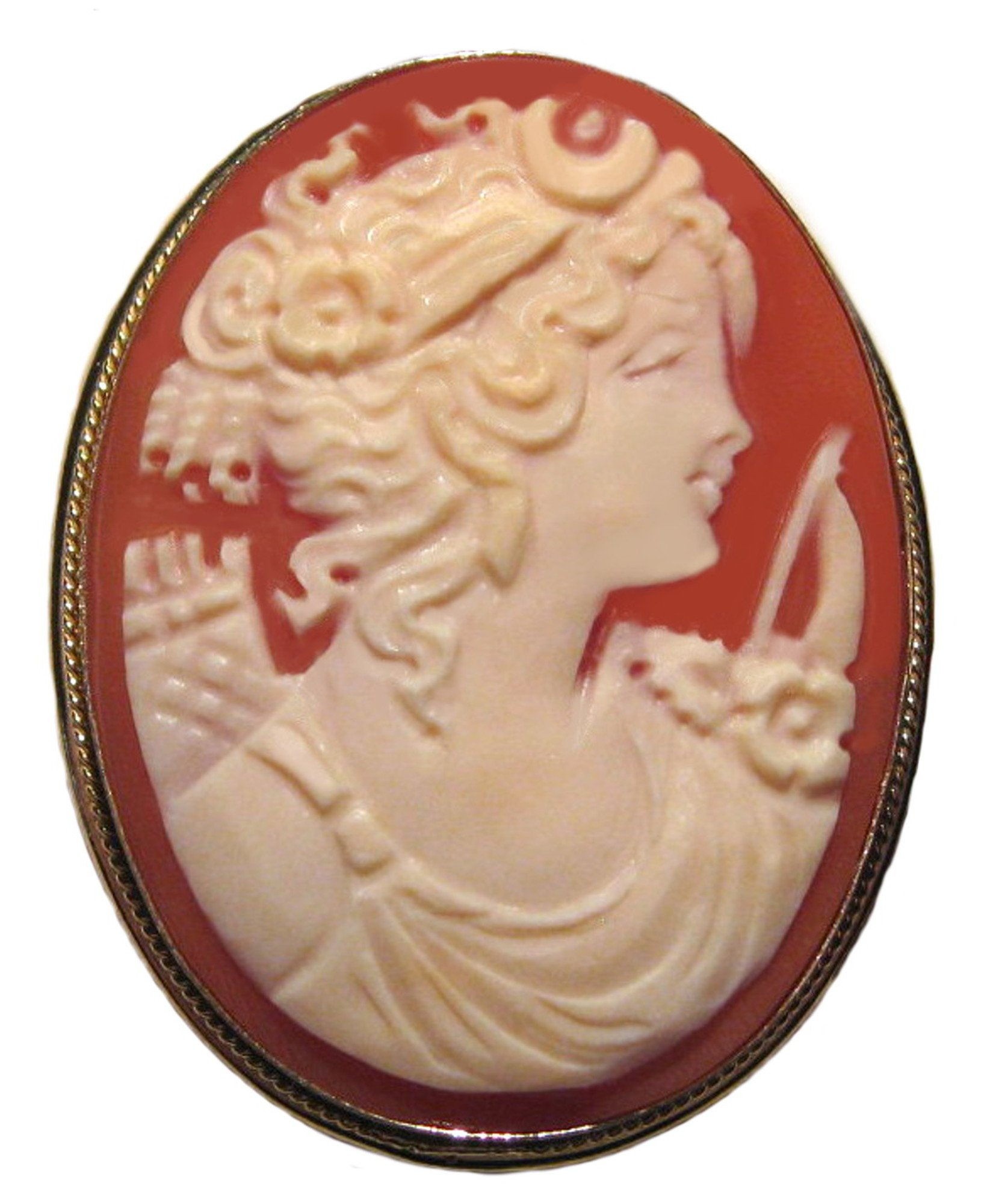 Goddess Diana Cameo Broach Pendant Master Carved, Shell Sterling Silver 18k Gold Overlay Italian by cameosRus (Image #1)