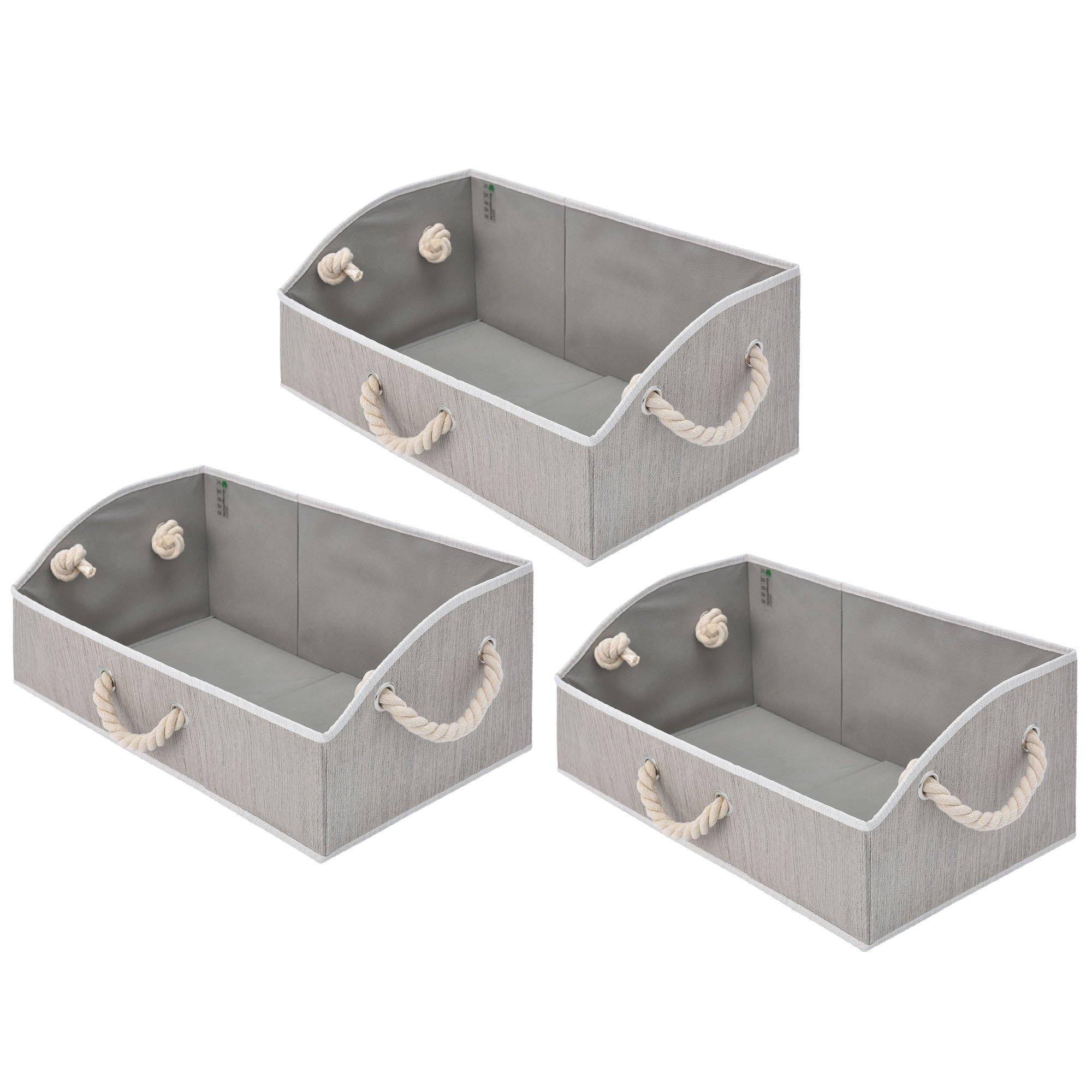 StorageWorks Storage Bins, Fabric Storage Baskets, Foldable Closet Organizer Trapezoid Storage Box, Bamboo Style, Gray, EX-Jumbo, 3-Pack