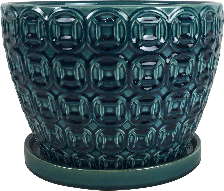 """Southern Patio CRM-047117 Mayer Ceramic Planter, 8"""", Sea Foam Green"""