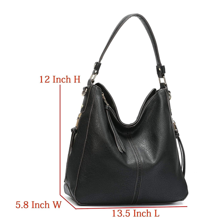 1e76ff27e14e Amazon.com  DDDH Vintage Hobo Handbags Shoulder Bags Durable Leather Tote  Bags Crossbody Purses Bucket Bag For Women Ladies Girls(Black new)  Clothing