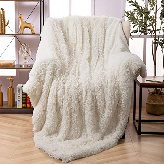 Bed Sofa Ombre Long Shaggy Blanket Faux Fur Fluffy Warm Throw Rugs Baby Blanket
