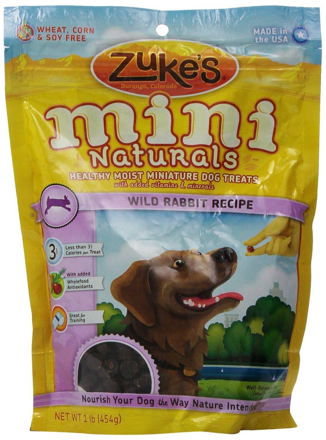 Zuke's Mini Naturals Healthy Moist Training Treats, Wild Rabbit 1-Pound (Pack of 2)