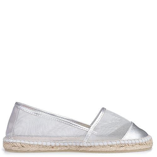Gaimo - Alpargatas para Mujer Plateado Plateado: Amazon.es: Zapatos y complementos