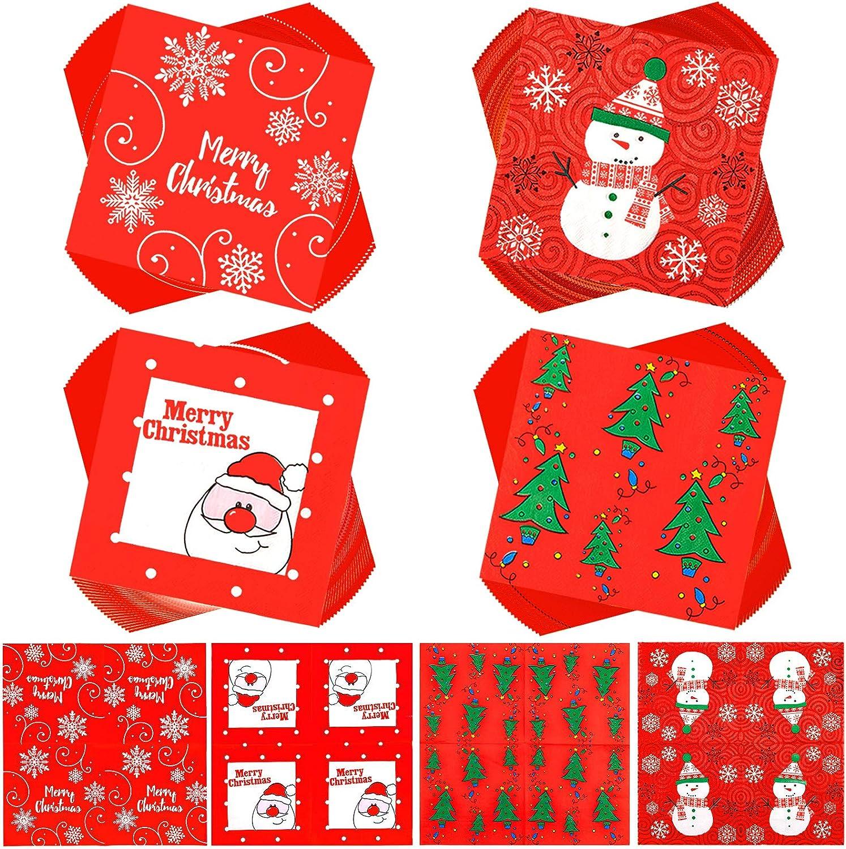 "Whaline Christmas Disposable Paper Napkins 80 Sheet Red White Cocktail Napkins Santa Xmas Tree Snowman Snowflake Napkins for Christmas Holiday Dinner Party Supplies, 4 Designs, 13"" x 13"""