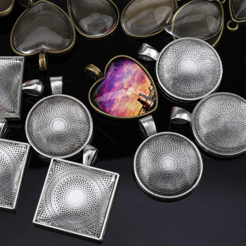 fermoirs /à homard Cha/înes de collier DPKOW Fabrication de bijoux Plateaux /à pendentif cha/înes forme de verre 15 anneaux de saut 10 crochets pour boucles doreilles
