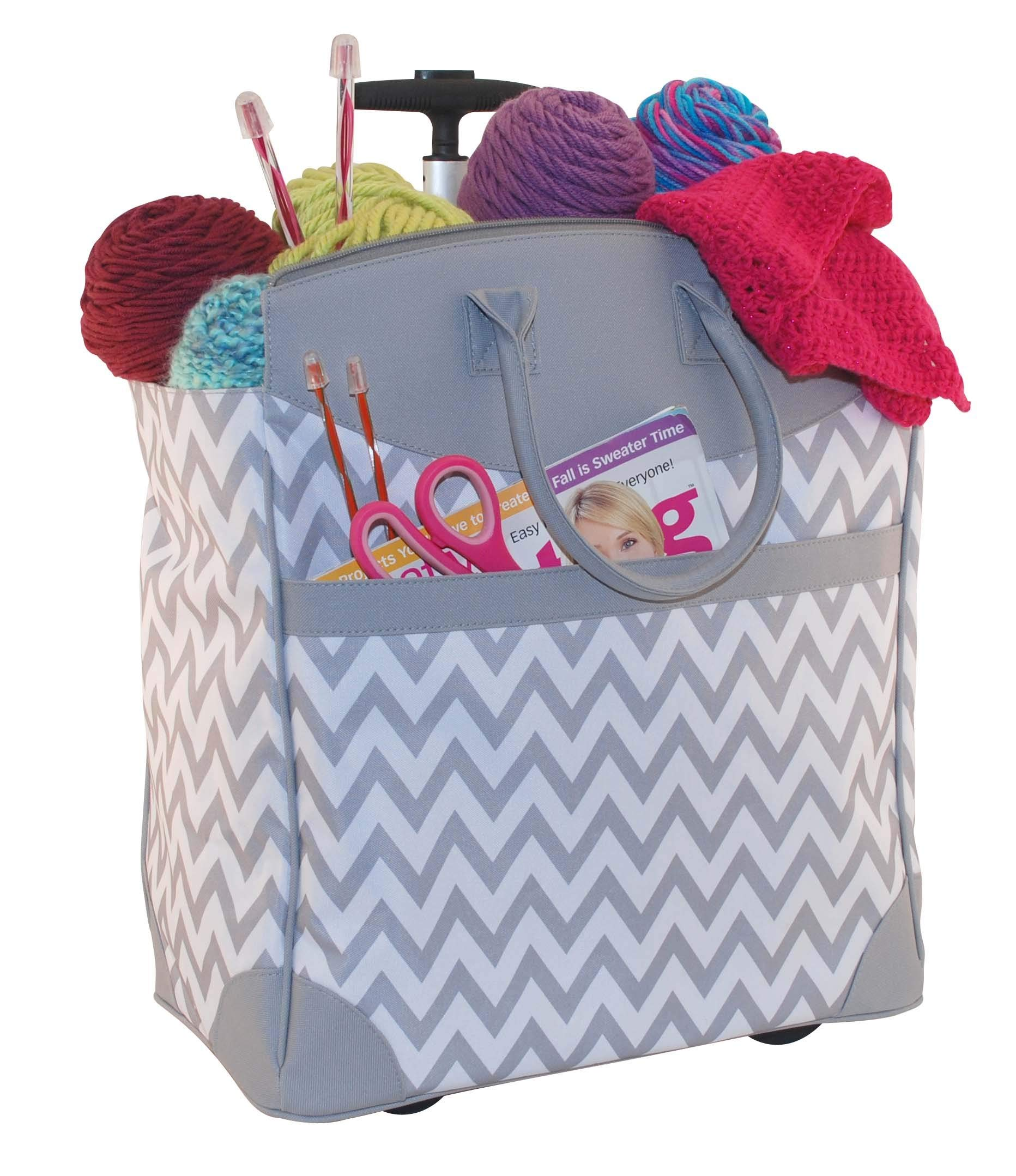 Everything Mary Chevron Rolling Knitting Tote
