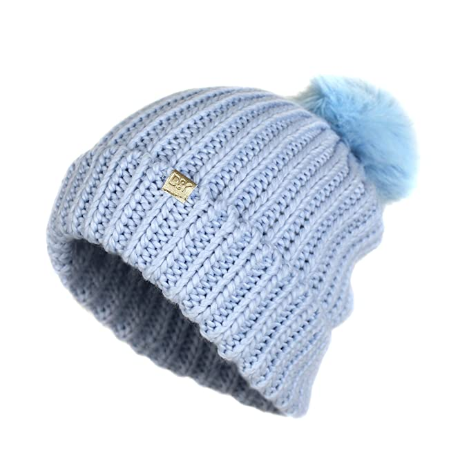 25e363ec9956d David and Young Soft Stretch Chunky Cable Knit Beanie Hat With Pom Pom-  Warm Knitted Winter Cap (Baby Blue) at Amazon Women s Clothing store