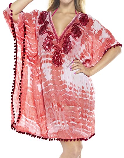 d9699e120f LA LEELA Chiffon Tie Dye Loose Blouse Cover Up OSFM 10-16 [M-1X] Pink_596  at Amazon Women's Clothing store: