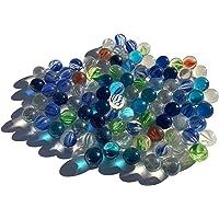 100 pezzi la pallina bilia biglia blu palla vetro trasparente occhi di gatto colorato 16 mm pietre di vetro blu colorato glciotole decorativ vetro