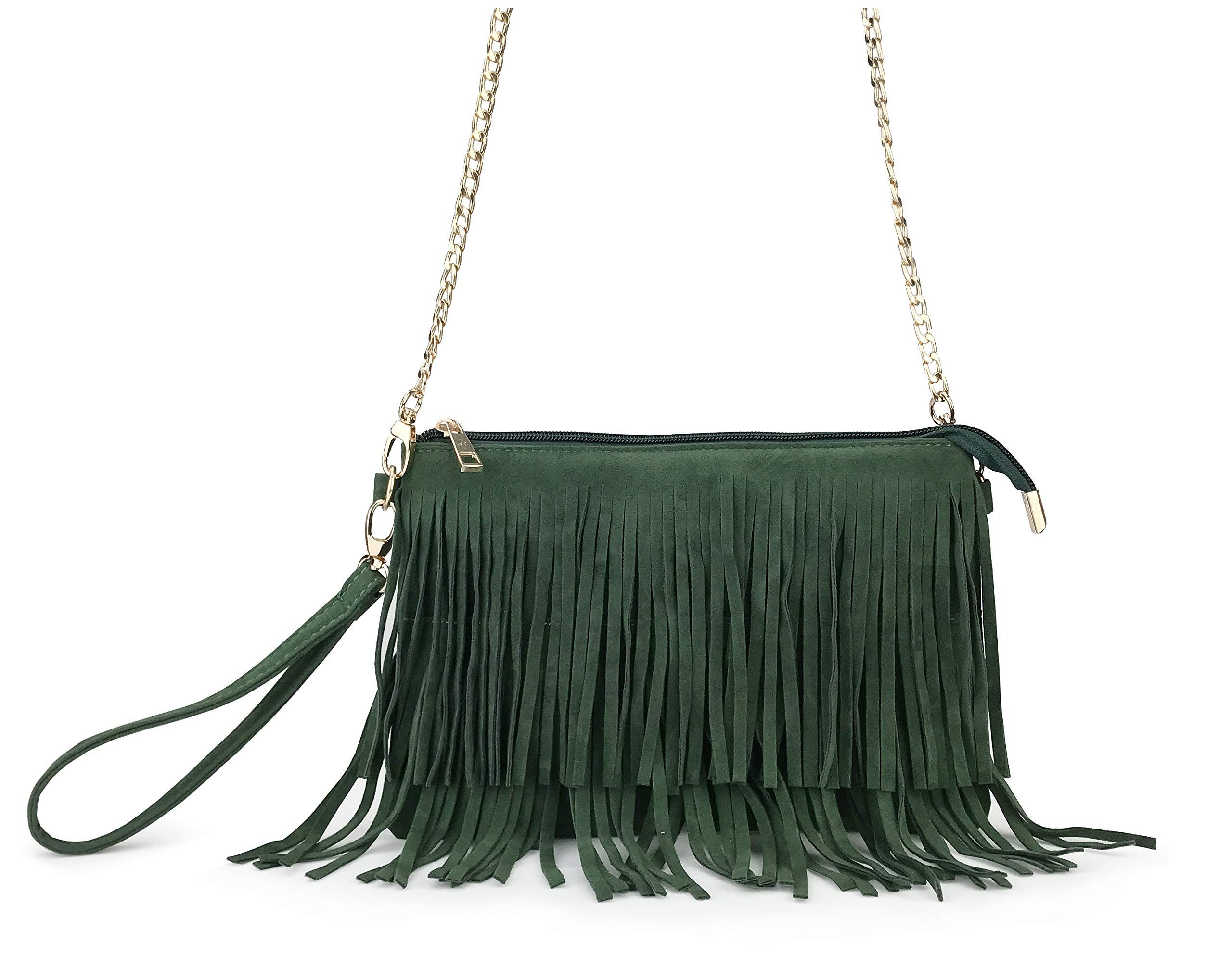 Hoxis Fringe Cross Body Bag Womens Small Shoulder Bag Top Zip Wristlet (Green)