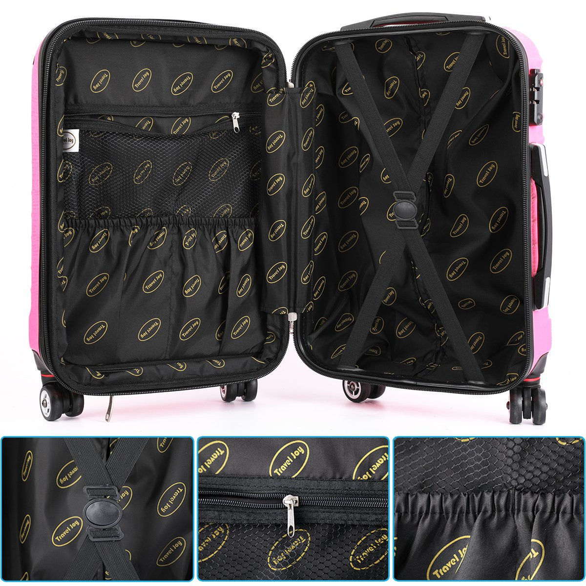 Hardside Carry On Luggage, Lightweight Expandable Spinner Carry Ons TSA Luggage Suitcase, 20 inches (HOT PINK) by Travel Joy (Image #5)