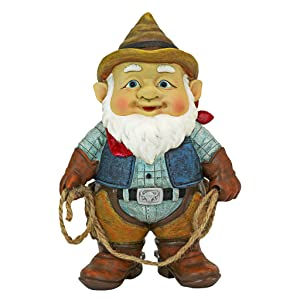 Design Toscano Garden Gnome Statue - Country Cowboy Klaus Garden Gnome - Lawn Gnome