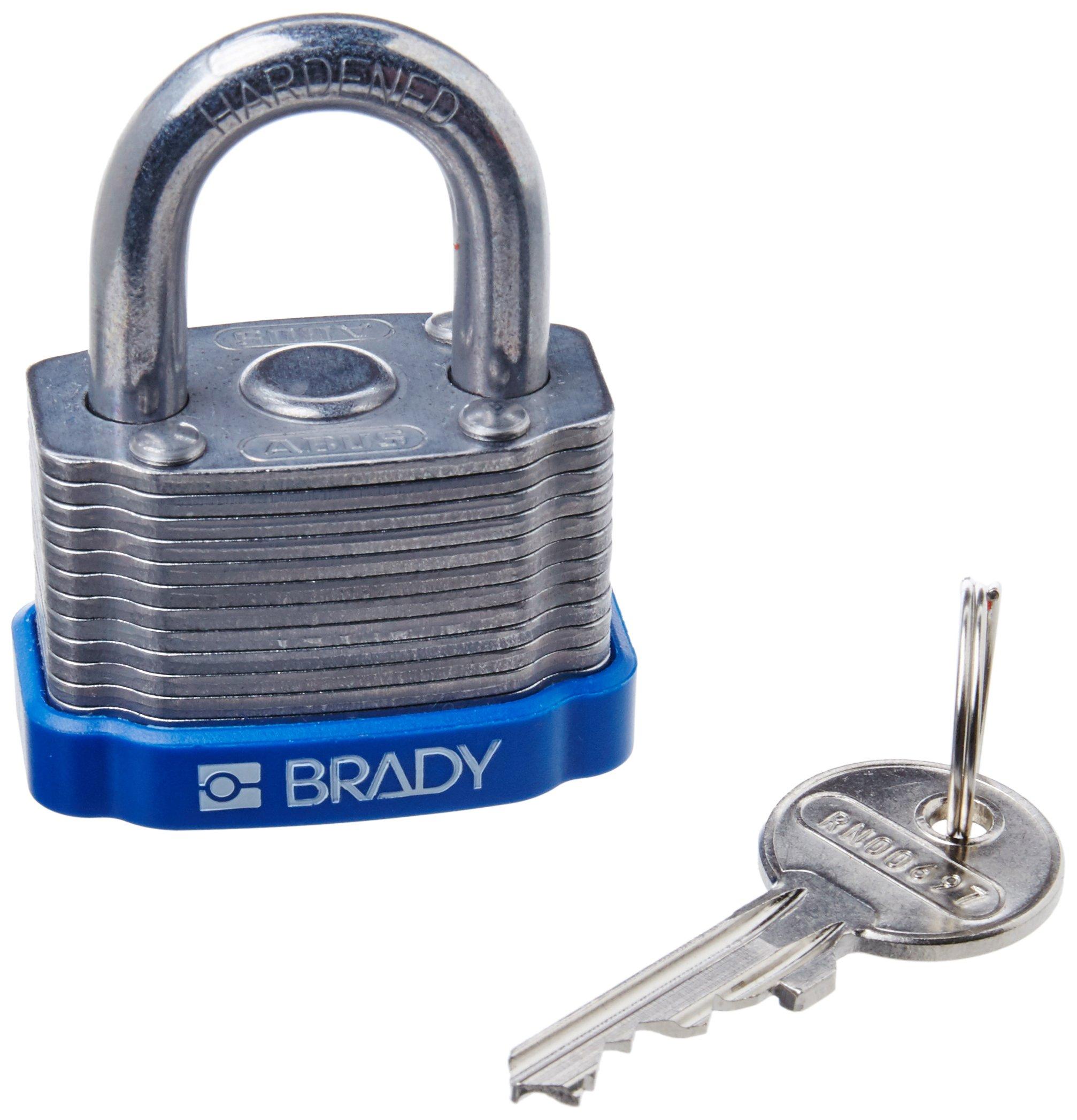 Brady 143130 Blue Key Retaining Steel Padlock, 1-1/5'' Height, 1-5/16'' Width, Blue
