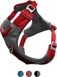Kurgo Dog Harness for Large, Small Active Dogs | Pet Hiking Harness for Running & Walking | Everyday Harnesses for Pets | Reflective | Journey Air | Red/Grey 2018 | Medium