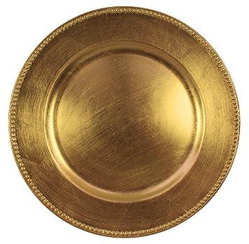 Redondo Cargador Platos de cuentas, color dorado de 13 pulgadas, juego de 1,2,4,6, o 12: Amazon.es: Hogar