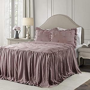 Lush Decor Woodrose Ravello Pintuck Ruffle Skirt Bedspread Shabby Chic Farmhouse Style Lightweight 3 Piece Set Queen