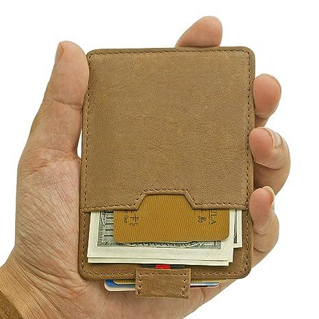 Regsun RFID bloqueo Ultra fina piel delgada minimalista ...
