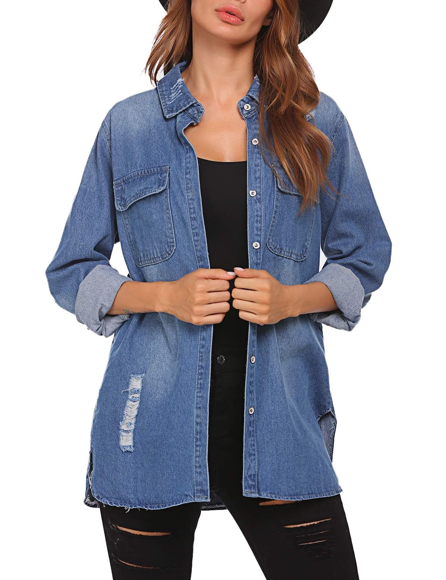 BEAUTEINE Women's Denim Jacket Long Sleeve Loose Distressed Lapel Jean Jackets,Dark Blue, X-Large